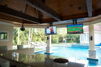 Outdoor theater and pool lighting automation